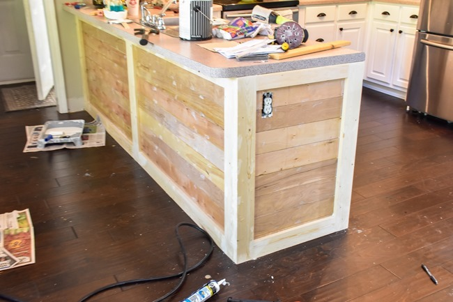 How to shiplap a kitchen penisula or kitchen island-11