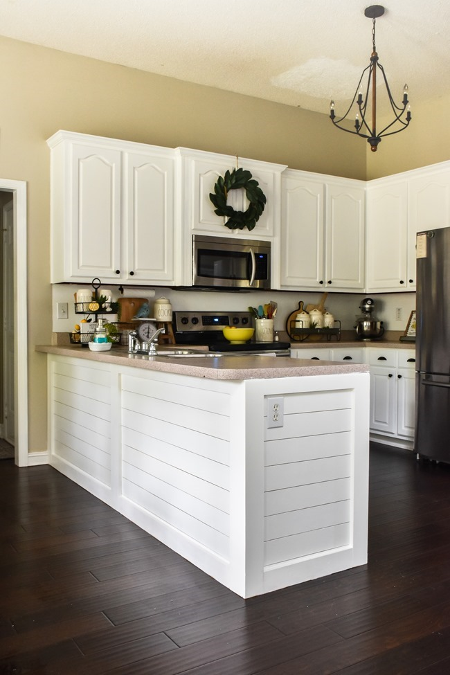 How to shiplap a kitchen penisula or kitchen island-18