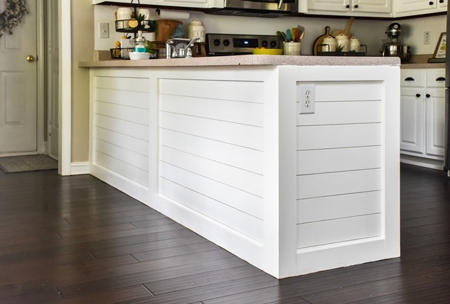 How to shiplap a kitchen penisula or kitchen island-19