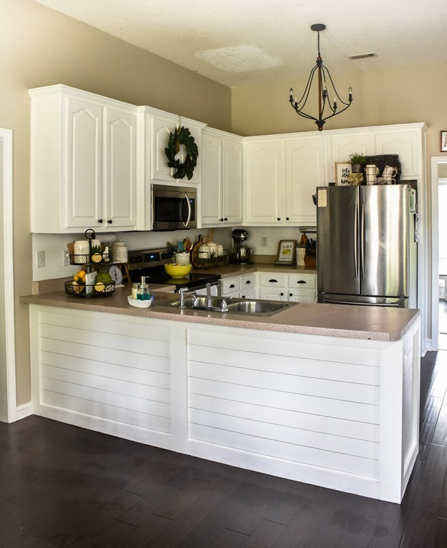 How to shiplap a kitchen penisula or kitchen island-20