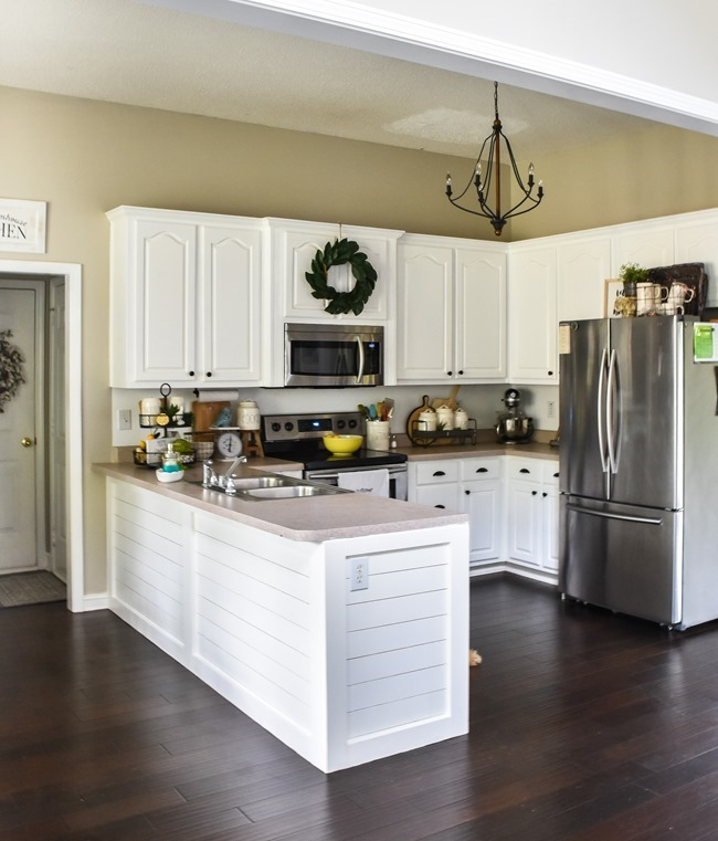 How to shiplap a kitchen penisula or kitchen island-24
