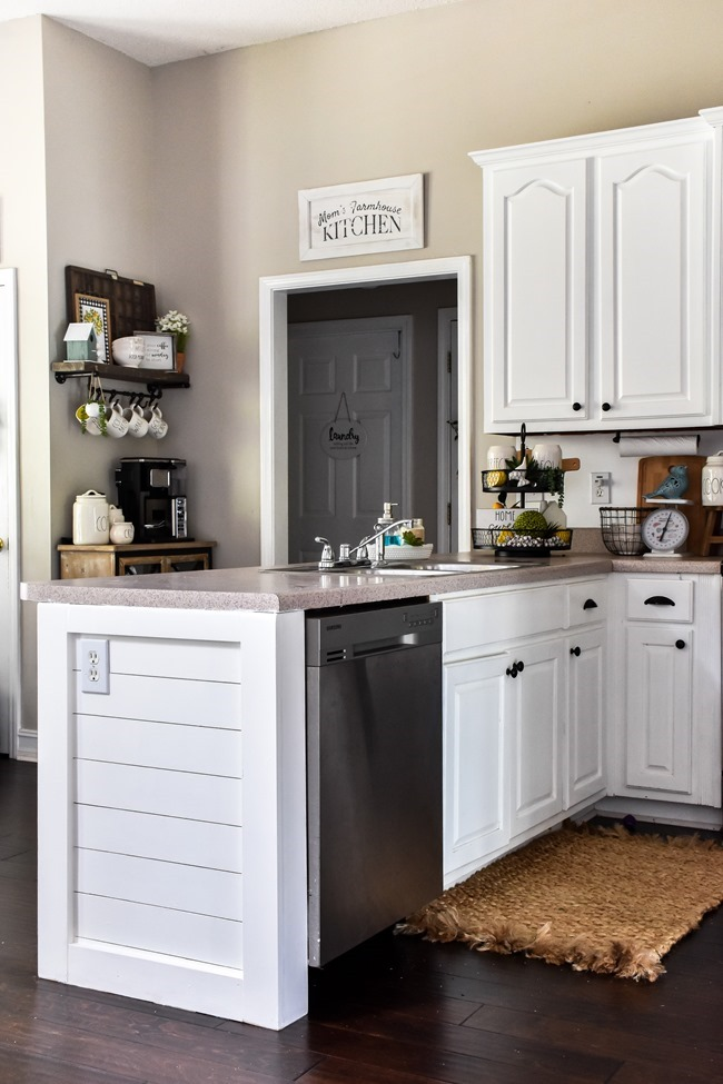 How to shiplap a kitchen penisula or kitchen island-32