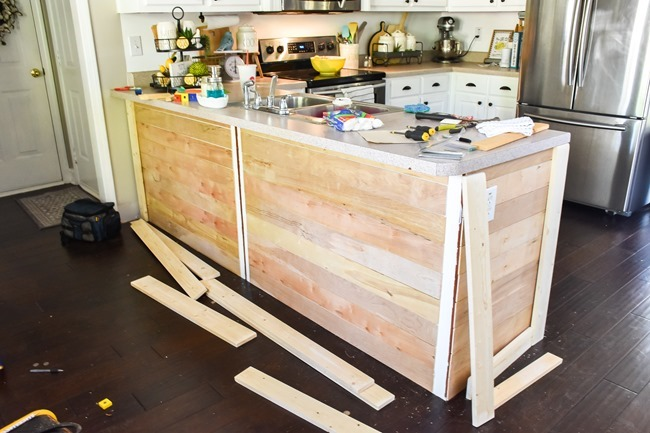 How to shiplap a kitchen penisula or kitchen island-8