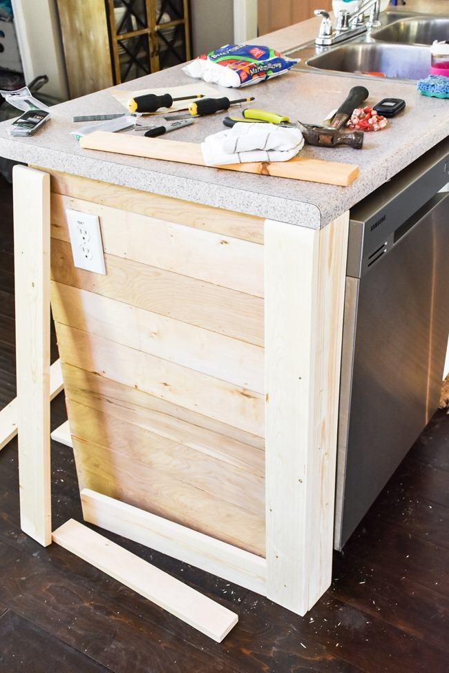 How to shiplap a kitchen penisula or kitchen island-9
