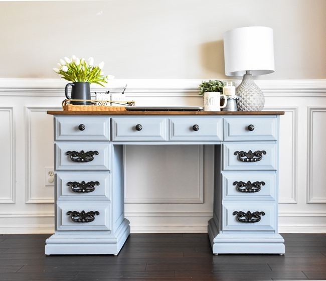 Thrift store desk makeover with Rustoleum Milk Paint-5