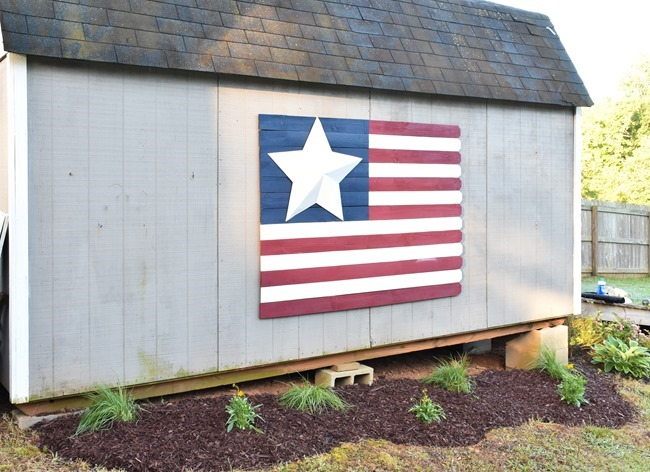 Large Wood Picket American Flag sign-13