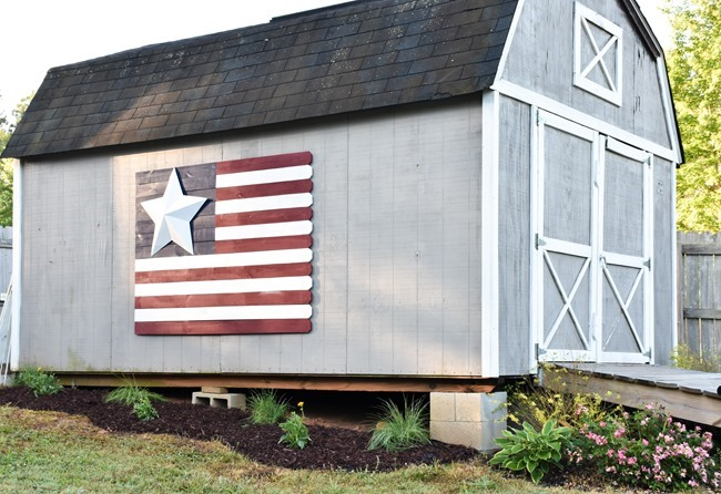 Large Wood Picket American Flag sign-14