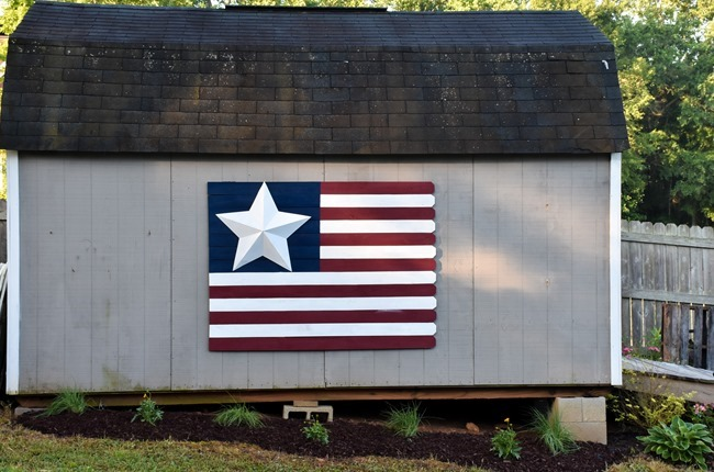 Large Wood Picket American Flag sign-6