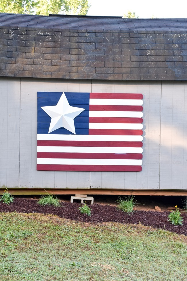 Large Wood Picket American Flag sign-7