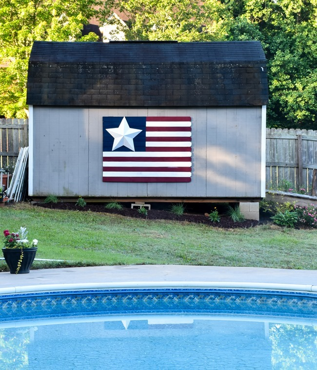 Large Wood Picket American Flag sign-9