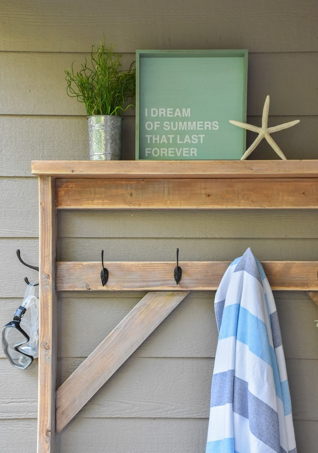 Farmhouse style DIY hall tree for pool towels-14