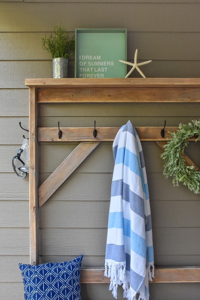 Farmhouse style DIY hall tree for pool towels-15