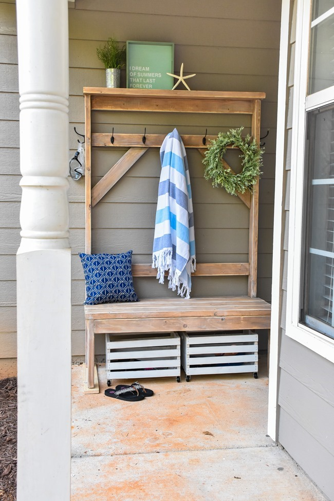 Farmhouse style DIY hall tree for pool towels-16