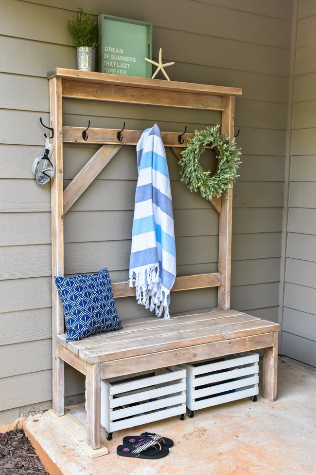 Farmhouse style DIY hall tree for pool towels-8