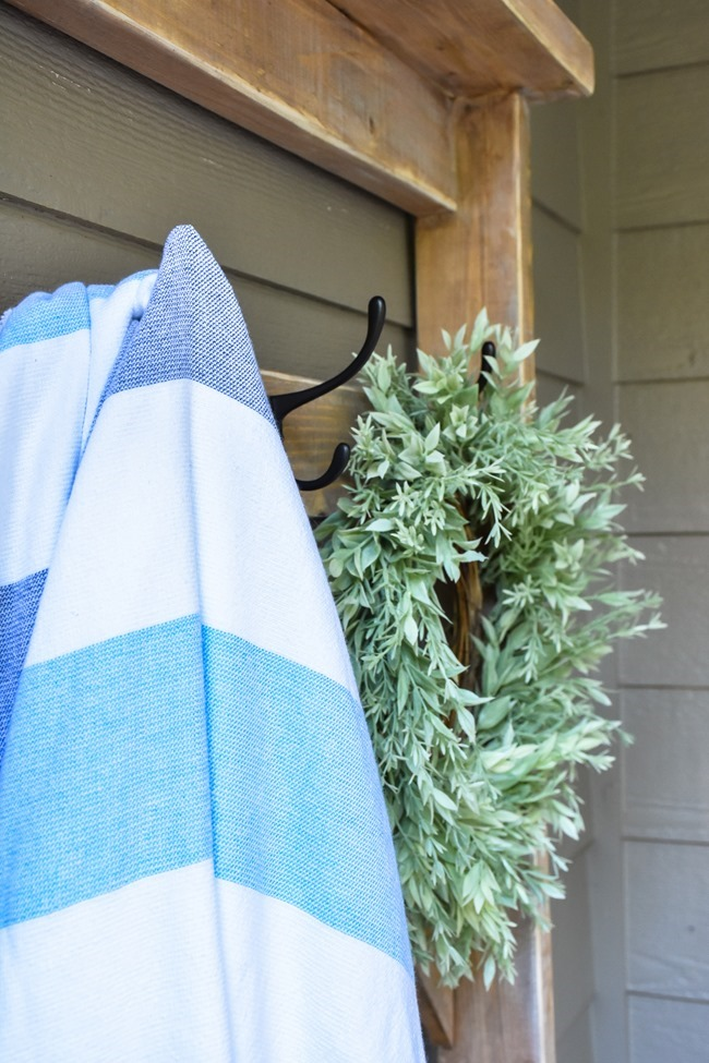 Farmhouse style DIY hall tree for pool towels-9
