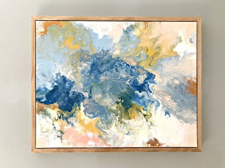 Try this pretty DIY Paint Pouring Wall Art Idea