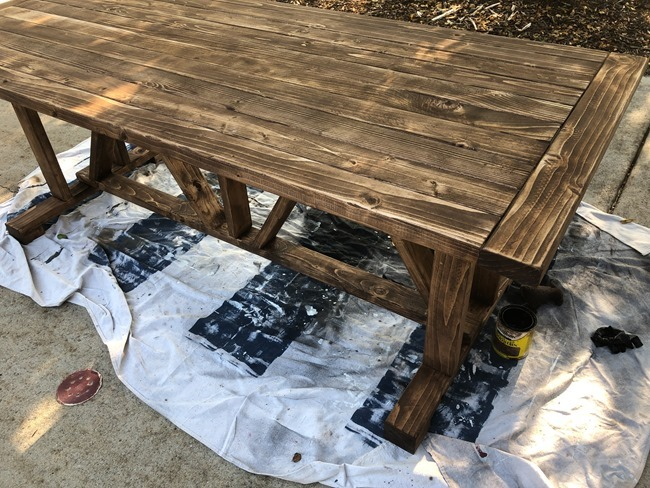 DIY Outdoor Farmhouse Patio Table made with 2x4's-5-2
