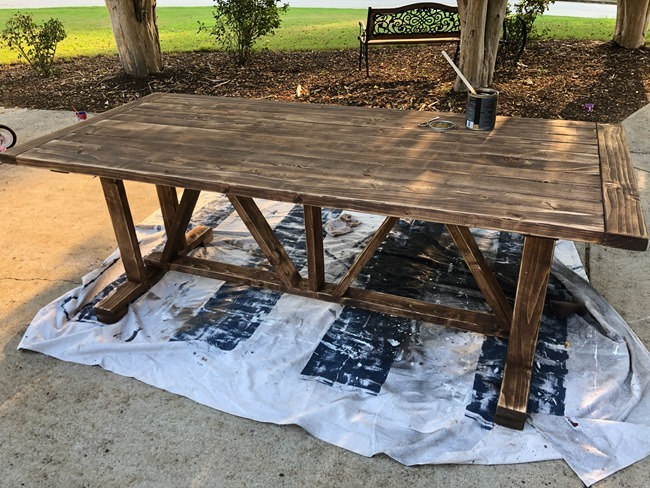 DIY Outdoor Farmhouse Patio Table made with 2x4's-6-2