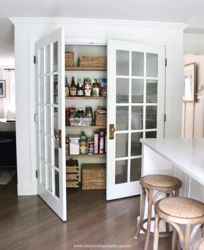 DIY wood rises for pantry