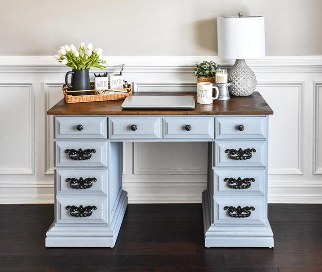 Thrift store desk makeover with Rustoleum Milk Paint-11