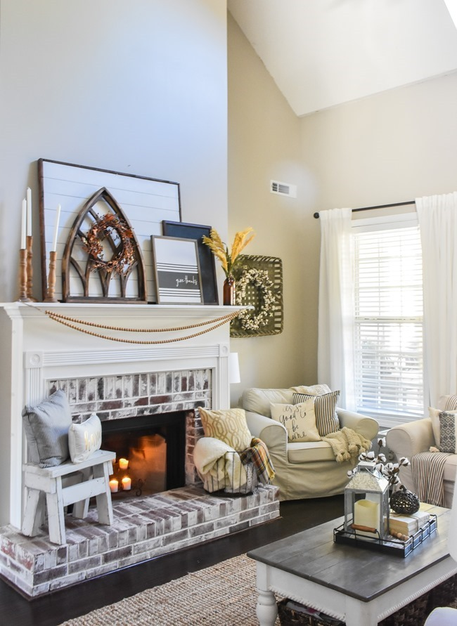 Layered Farmhouse Style Fall Mantel-10-2