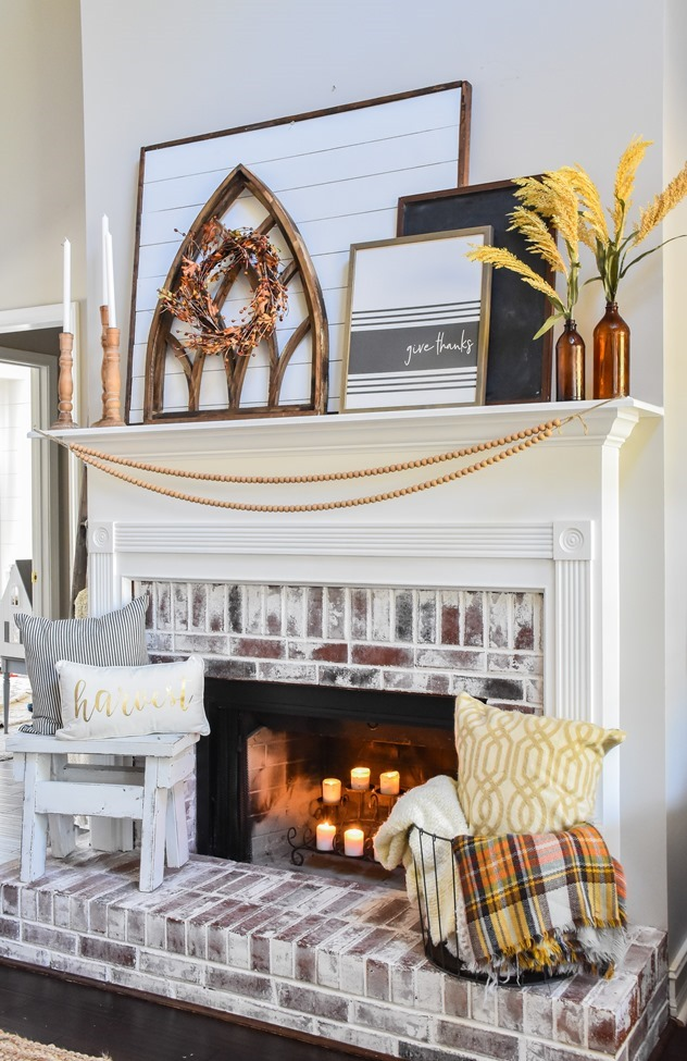 Layered Farmhouse Style Fall Mantel-12-2