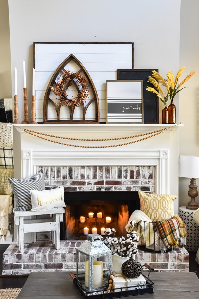 Layered Farmhouse Style Fall Mantel-2-2
