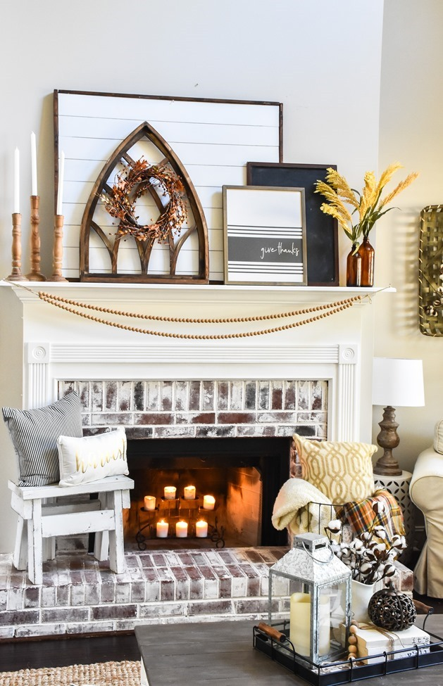 Layered Farmhouse Style Fall Mantel-4-2