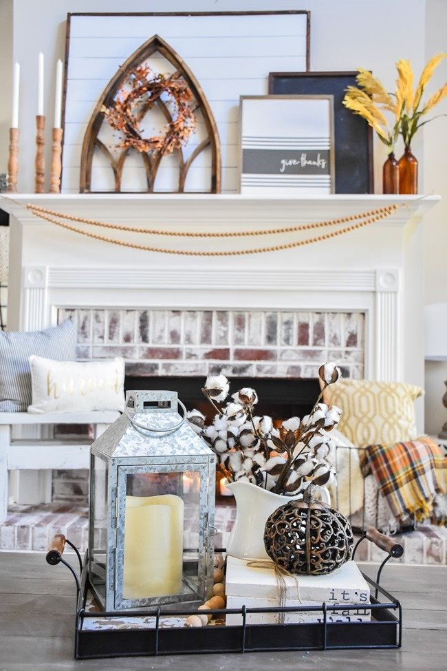 Layered Farmhouse Style Fall Mantel-9-2