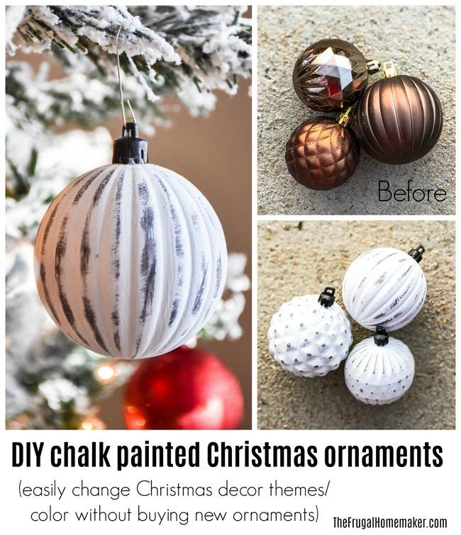 DIY Chalk painted Christmas ornaments