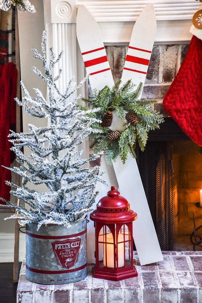 Ski Lodge Inspired Christmas Farmhouse Mantel-12