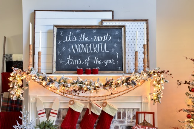 Ski Lodge Inspired Christmas Farmhouse Mantel-14