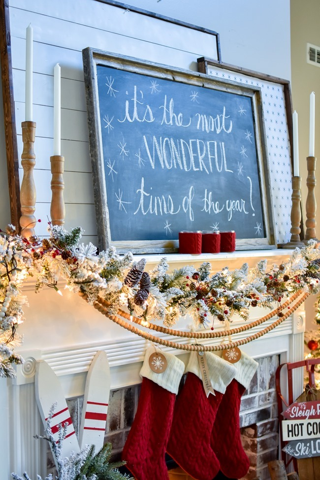 Ski Lodge Inspired Christmas Farmhouse Mantel-26