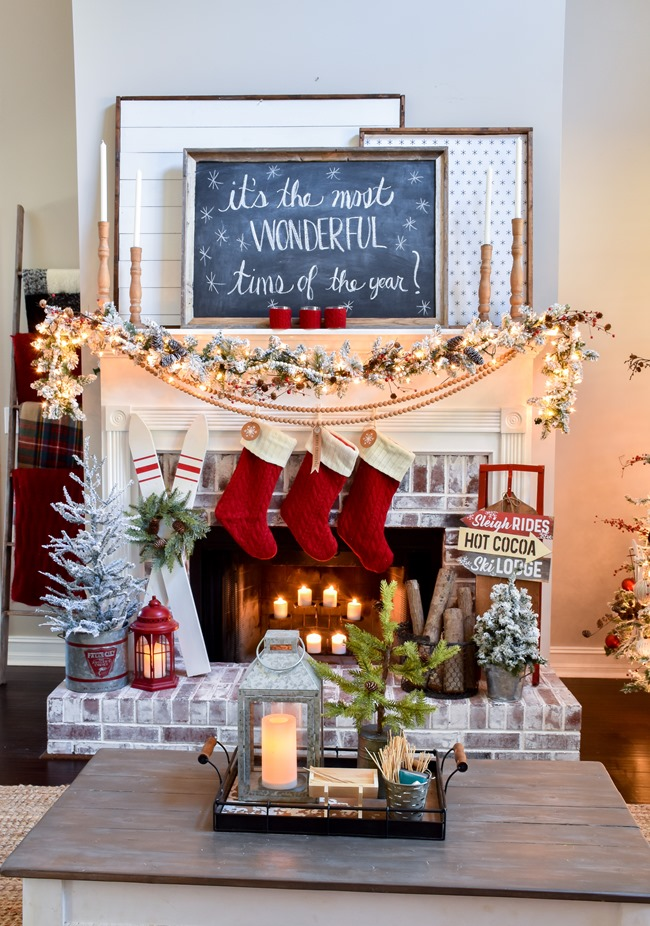 Ski Lodge Inspired Christmas Farmhouse Mantel-3
