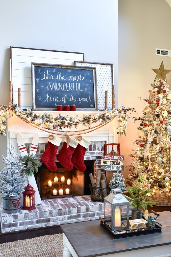 Ski Lodge Inspired Christmas Farmhouse Mantel-15