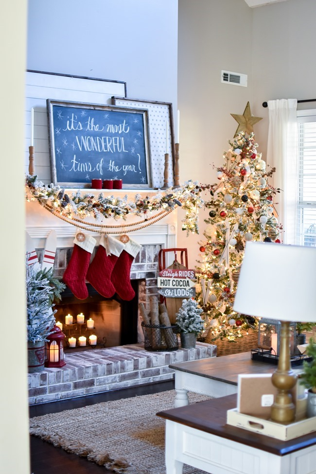 Ski Lodge Inspired Christmas Farmhouse Mantel-29