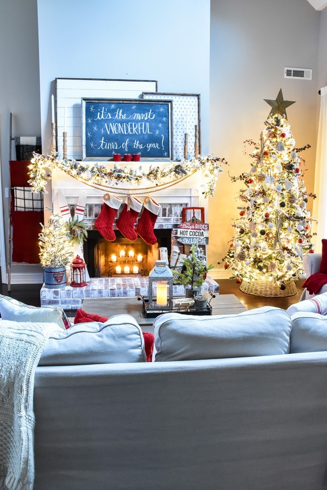 Ski Lodge inspired Farmhouse Christmas Tree and Living Room-1
