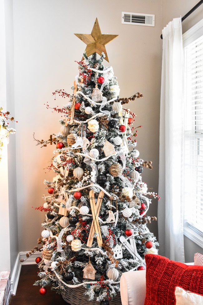 Ski Lodge inspired Farmhouse Christmas Tree and Living Room-13