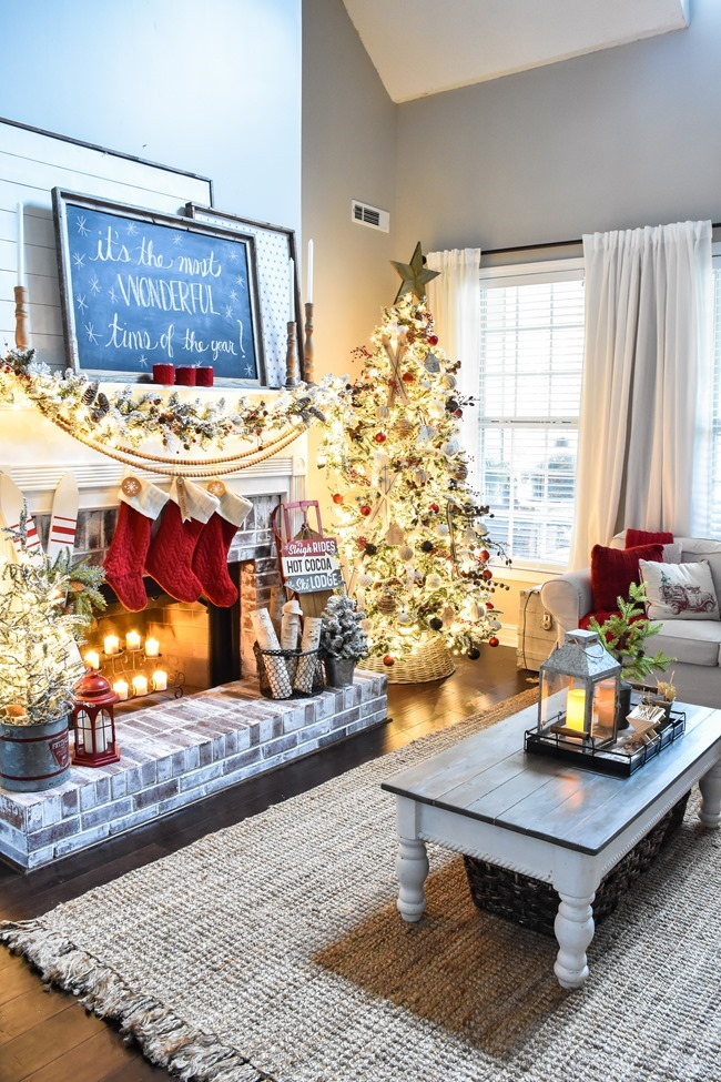 Ski Lodge inspired Farmhouse Christmas Tree and Living Room-17