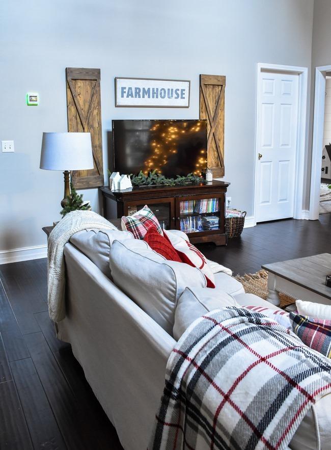 Ski Lodge inspired Farmhouse Christmas Tree and Living Room-3