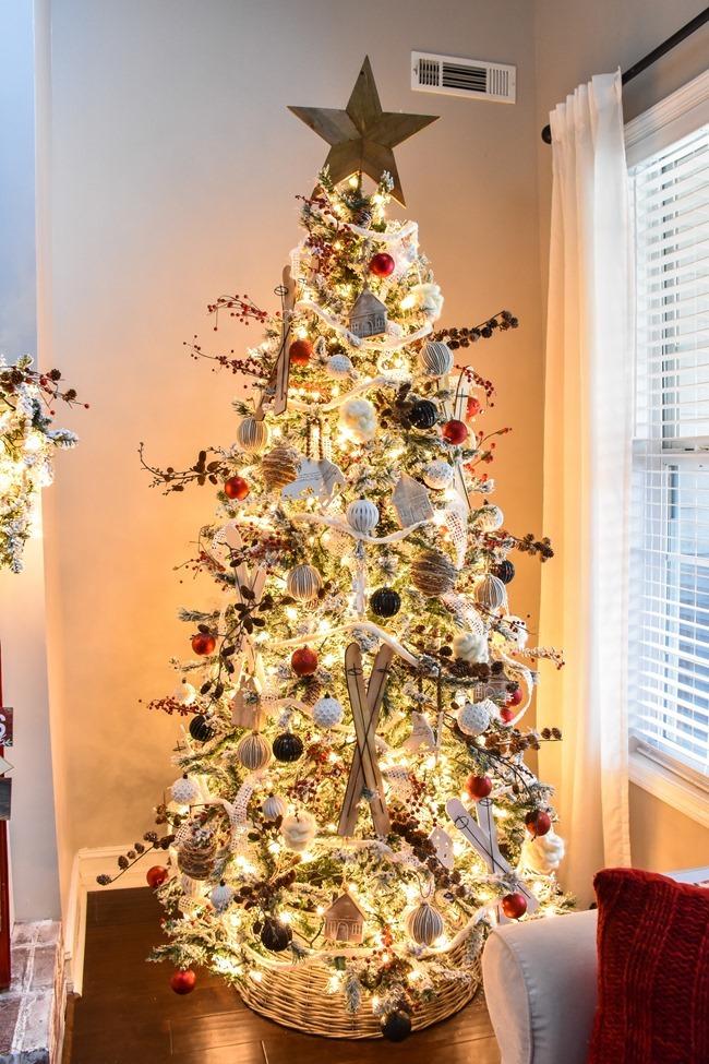 Ski Lodge inspired Farmhouse Christmas Tree and Living Room-9