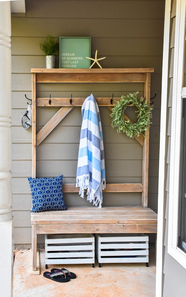 Farmhouse style DIY hall tree for pool towels-7