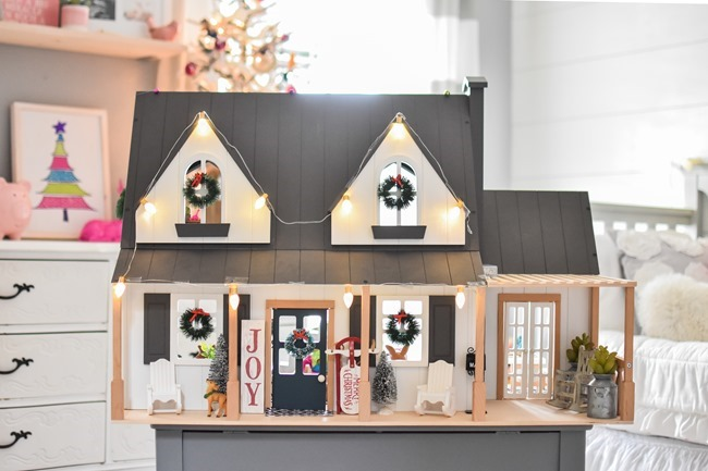 Hearth and Hand dollhouse little girls room decorated for Christmas-7