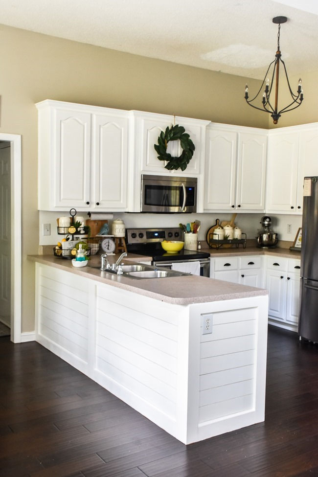 How to shiplap a kitchen penisula or kitchen island-26