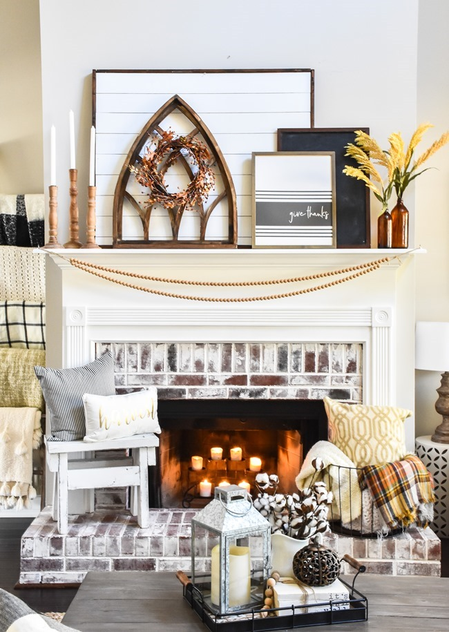 Layered Farmhouse Style Fall Mantel-1-2
