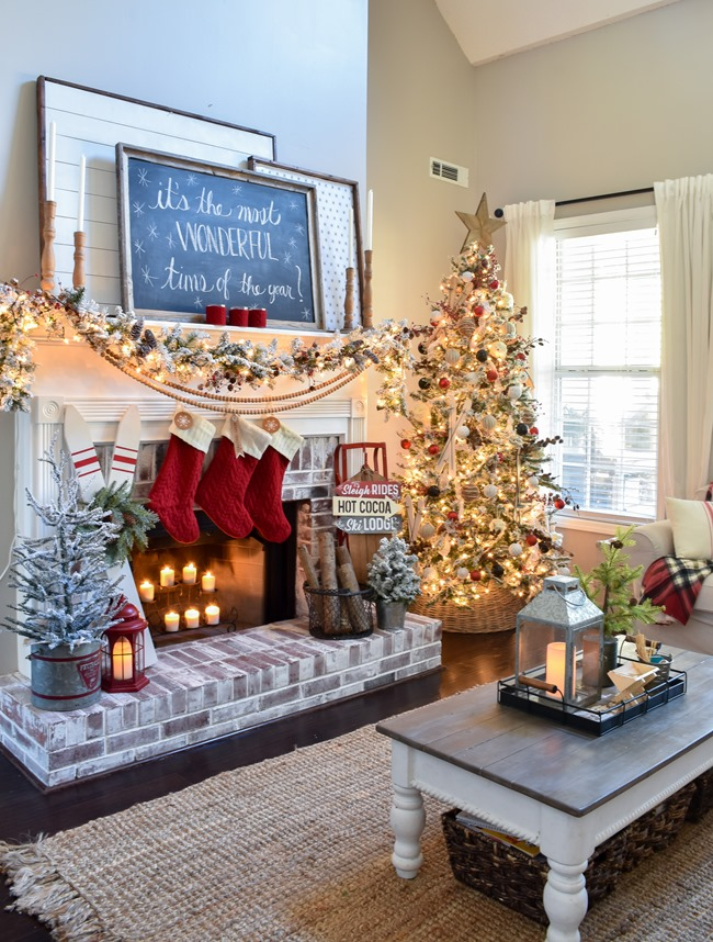 Ski Lodge Inspired Christmas Farmhouse Mantel-7