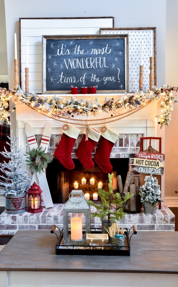 Ski Lodge Inspired Christmas Farmhouse Mantel-9