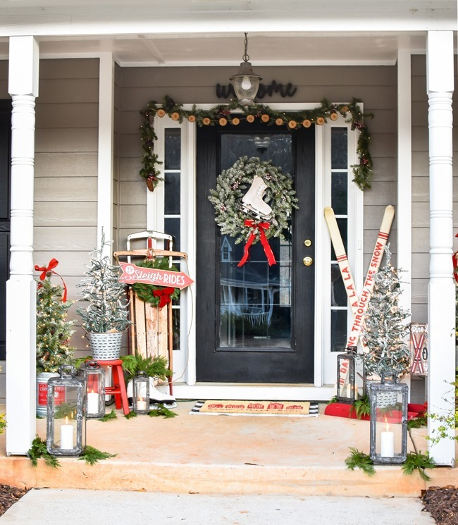 Ski Lodge Inspired Farmhouse Christmas Front Porch-9