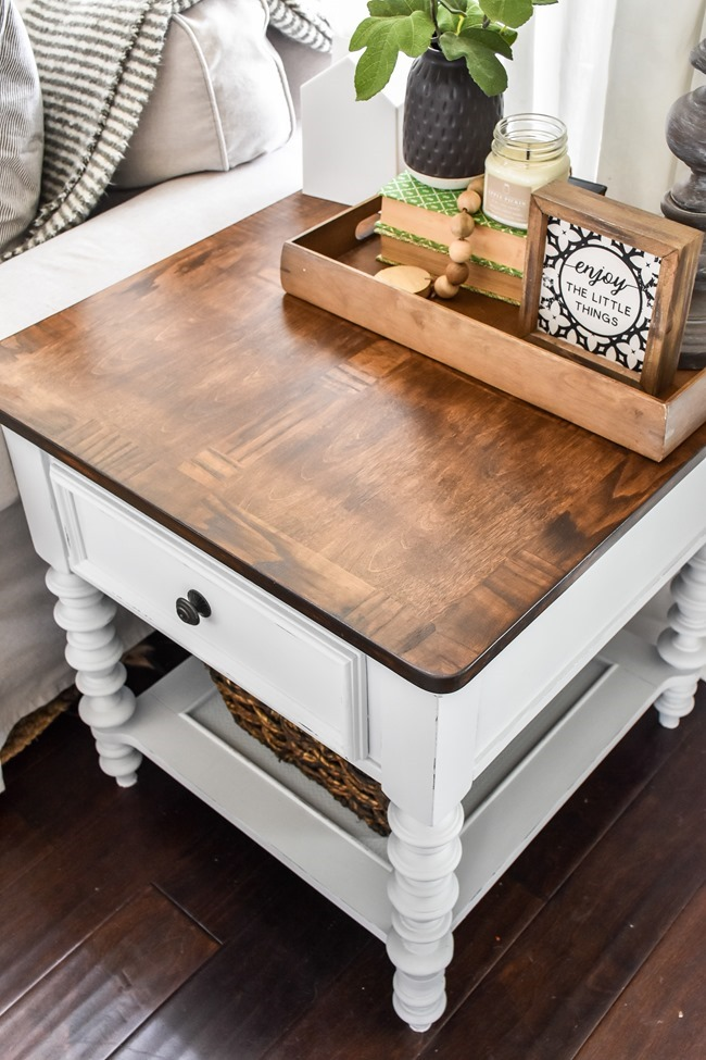 End table makeover with milk paint and stain-10