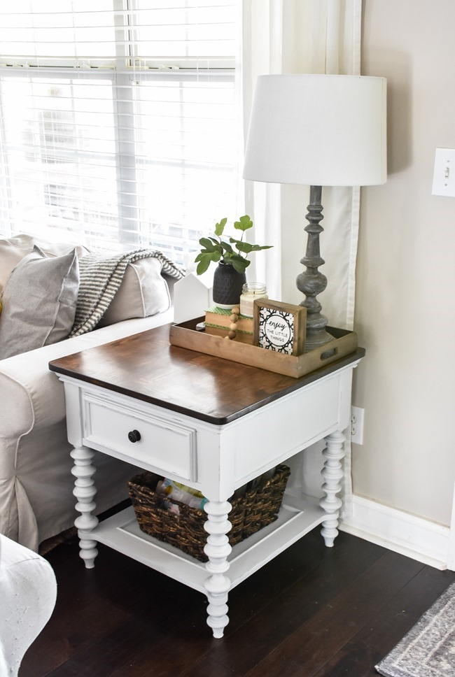 End table makeover with milk paint and stain-11